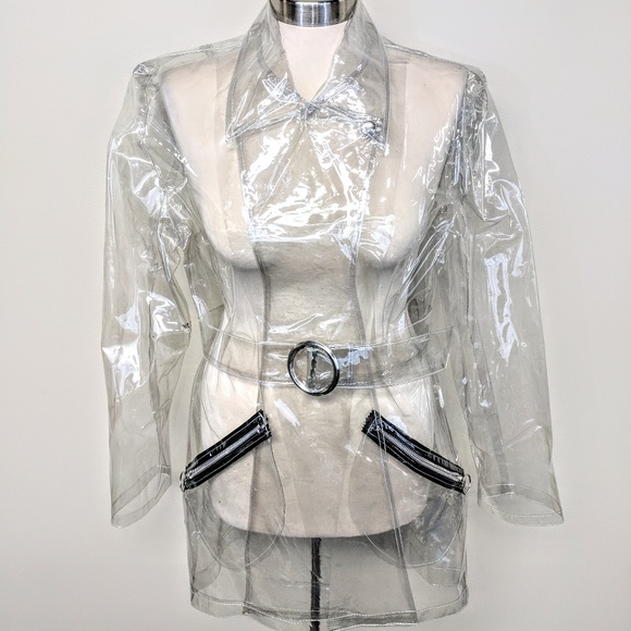 Tripp nyc Jackets & Blazers - Tripp NYC Clear PVC Belted Trench Coat